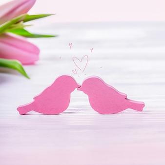 로맨틱 핑크 새 키스