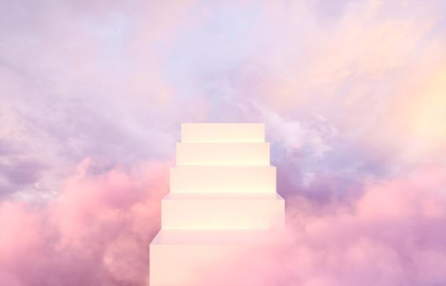 Романтический фон подиума для демонстрации продукции на фоне мечтательного неба.