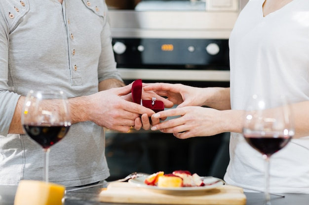 Romantic proposal in the kitchen