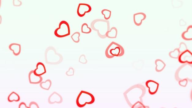 흰색 바탕에 로맨틱 레드 하트입니다. 해피 발렌타인 데이 휴일 인사말입니다. 고급스럽고 우아한 스타일의 3d 일러스트