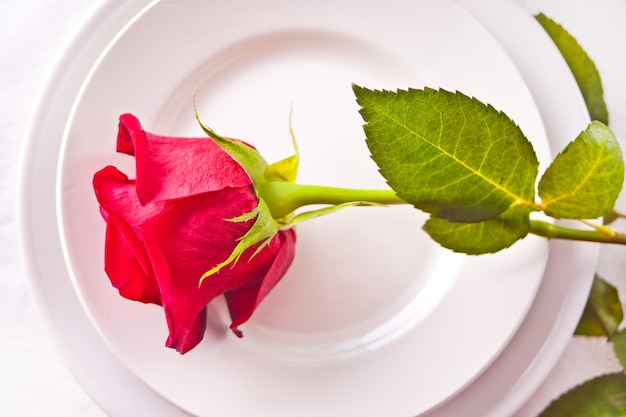 Romantic restaurant table setting for two with roses on the plate.