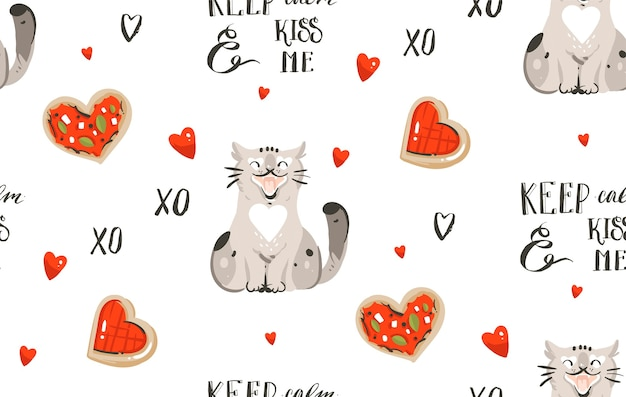 Romantic seamless pattern with cute cats, pizza, handwritten calligraphy and hearts