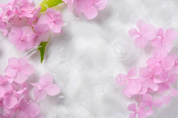 로맨틱 부드럽고 아름다운 패턴 핑크 수국 꽃 배경