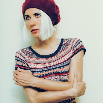 Romantic style sensual model burgundy beret