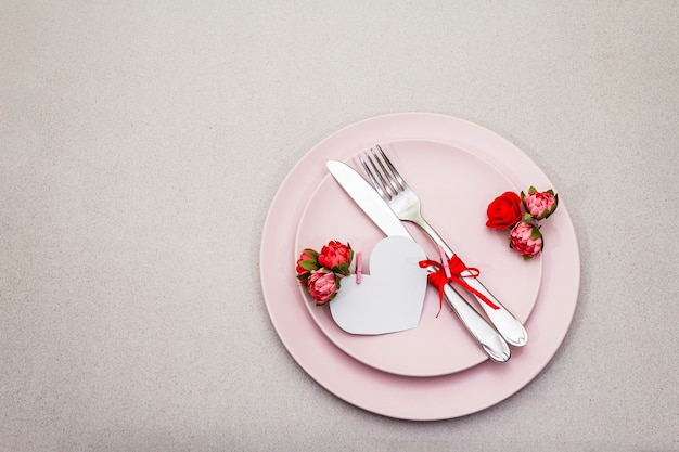 Romantic table setting for valentine's day