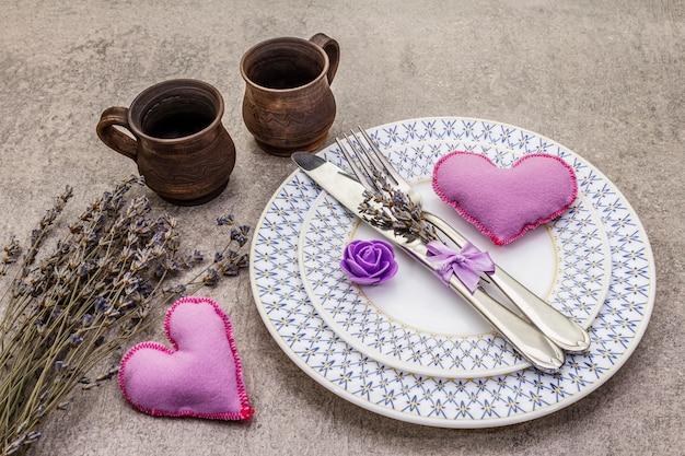 Romantic table setting with felt heart