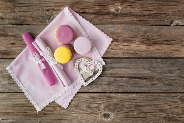 Romantic table setting with macaroon on valentine's day