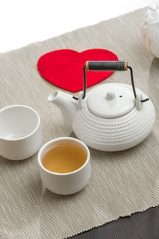 Romantic tea set with red heart