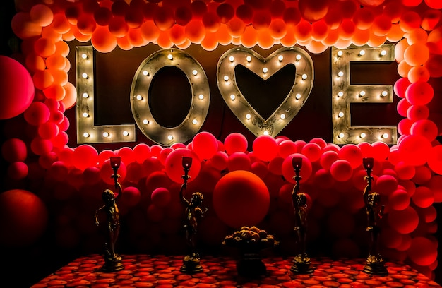 Romantic themed interior decor at a restaurant for valentine's day