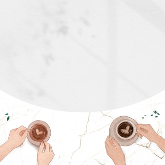 Romantic valentine's marble border white coffee date shadow background
