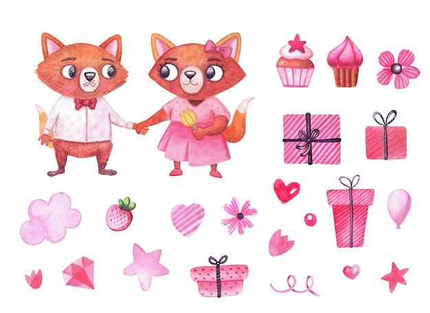 水彩画の技法で作られたロマンチックなバレンタインデーセット。甘いキツネのキャラクターと素敵な水彩イラスト。明るいカップルの孤立したデザイン