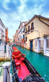 Romantic venetian scenery with gondola