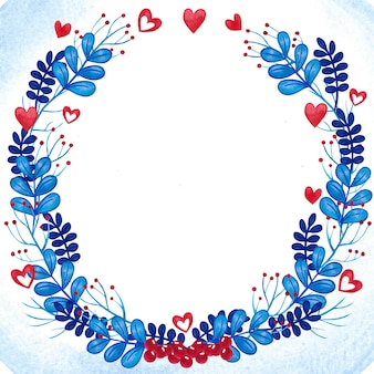 Romantic watercolor floral wreath frame blue and red