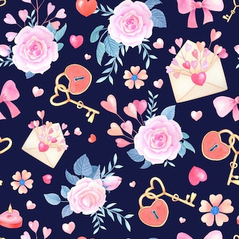 Romantic watercolor seamless pattern with pink,red heart,rose,flower,bow,lock,key on a dark blue background.
