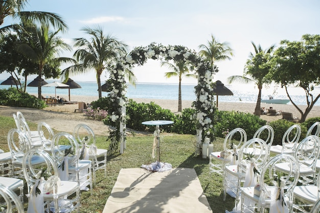 Romantic wedding ceremony on the beach
