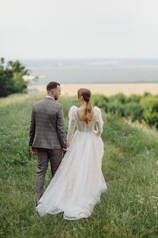 Romantic wedding couple in love