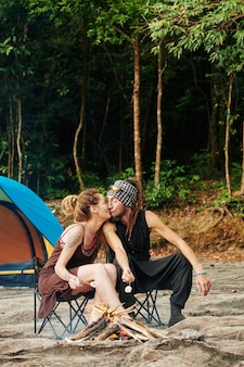 Romantic weekend in forest