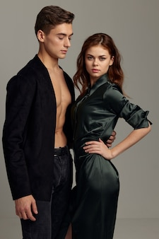 Romantic young couple close relationship elegant style luxury