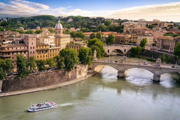 Rome city and tiber river