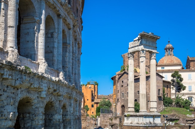 Rome, italy - circa august 2020: ancient exterior of teatro macello (theater of marcellus) located very close to colosseum.