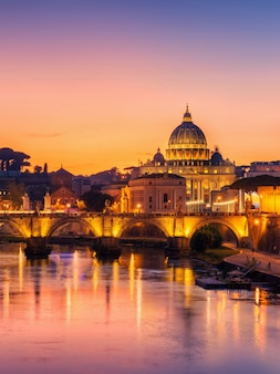 Rome, italy with st peter basilica of the vatican
