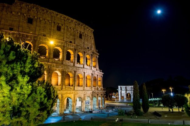 Rome's circus coliseum, illuminated at night