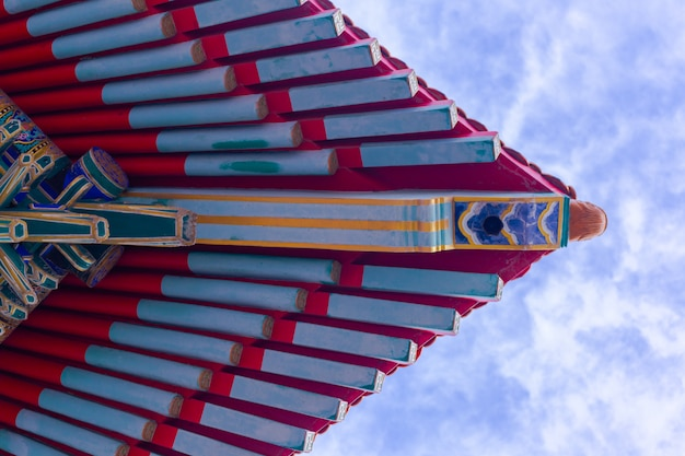 Roof eaves of chinese architecture view from below