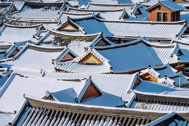 Roof of jeonju traditional korean village covered with snow, jeonju hanok village in winter, south korea