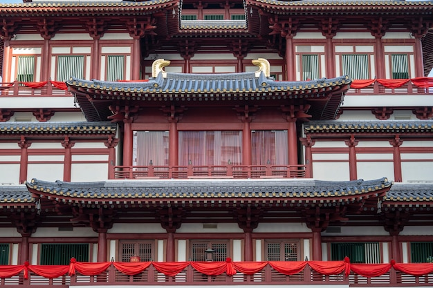 Roof structure of the buddha tooth relic temple and museum, chinatown, singapore . it is chinese style architecture of temple that popular attraction and located in the china town of singapore