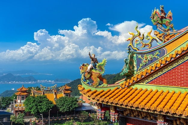 Roof of temple in jiufen old street, taiwan