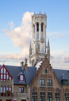 Roofs of old houses with belfort tower,  belgium