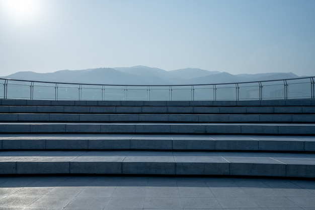 The rooftop patio stairway and mountain