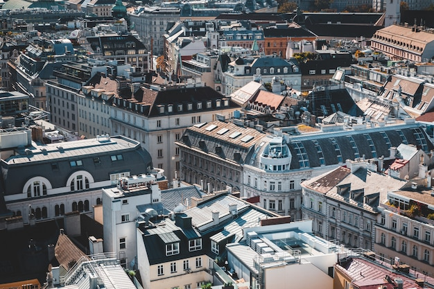 Rooftop view of vienna historical center, austria