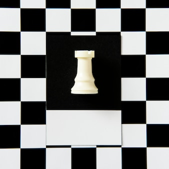 Rook chess piece on a pattern