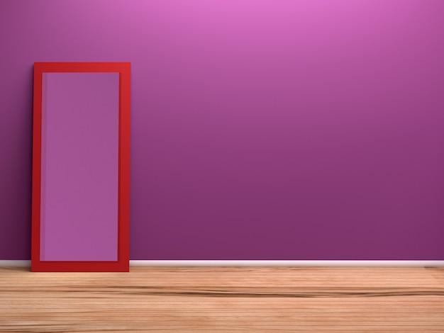 Комната и зеркальное стекло, 3d-рендеринг