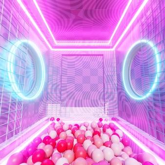 90년대 복고풍 및 공상 과학 팝 아트 장면에서 광고를 위한 기하학적 터널 배경이 있는 방 색상