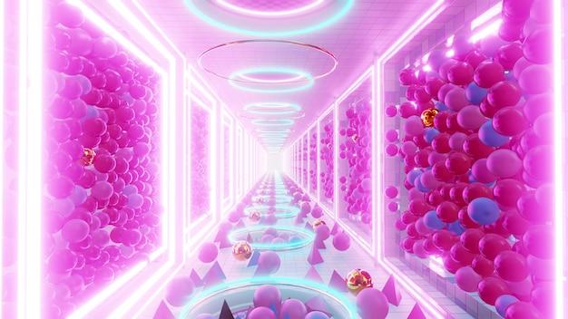 90년대 복고풍 및 공상 과학 팝 아트 장면의 벽지를 위한 기하학적 터널 배경으로 다채로운 방