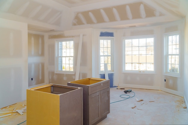 Room drywalls with plasterboards at a under construction