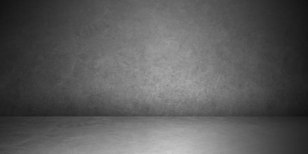 コンクリートの壁のテクスチャの背景を持つ部屋の暗い電球と電球のあるセメントの床の空の部屋。