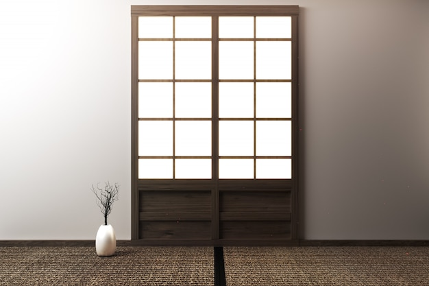 Room empty with tatami mats and paper sliding doors called shoji on room zen style.3d rendering