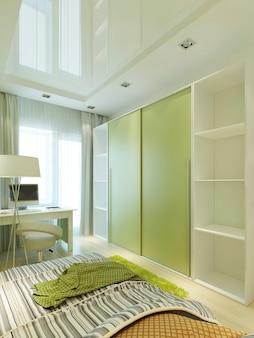 Комната для подростка в современном стиле с большим шкафом-купе в светло-зеленых и белых тонах. гримерная в детской для мальчика. 3d визуализация.