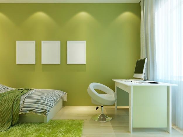 벽에 모형 포스터가있는 현대적인 스타일의 십대를위한 공간. 객실은 흰색 가구와 함께 밝은 녹색으로 꾸며져 있습니다. 3d 렌더링.