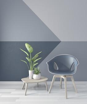 Room geometric wall on wood floor. 3d rendering
