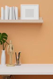 제품 디스플레이를 위한 중성 주황색 벽 복사 공간이 있는 흰색 장식을 위한 자른 샷의 방 아이디어