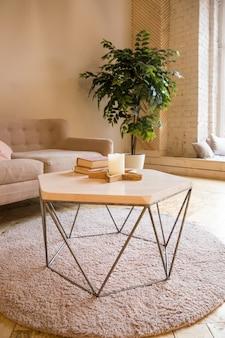 로프트 스타일의 객실. 소파, 작은 테이블과 작은 나무가있는 객실 내부. 책과 양초가있는 작은 테이블이있는 소파가 있습니다