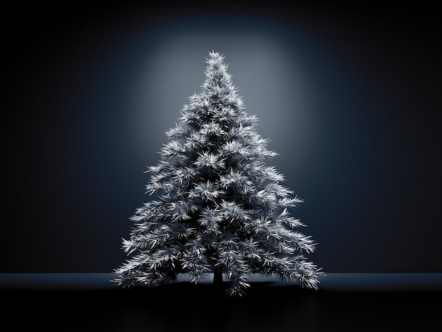 Room interior christmas holiday fir tree background 3d illustration rendering