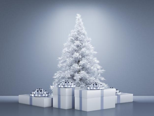 Интерьер комнаты рождественский праздник ель фон 3d рендеринг