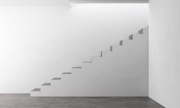 방 인테리어 디자인과 흰색 계단 및 콘크리트 질감 벽