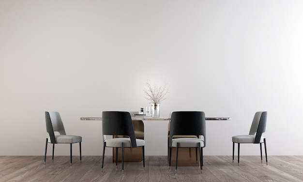 The  room interior design of luxury dining room and empty white wall pattern, 3d rendering