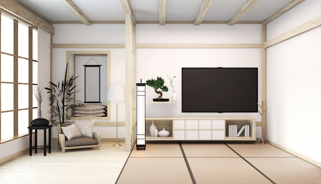 Room interior japanese style with cabinet on room floor tatami mat wooden room minimal decoration baboo plants. 3d rendering
